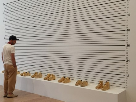 Whitney Museum Gold Sneaker Art