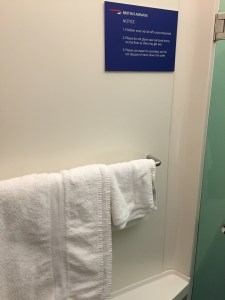 BA Shower at Heathrow towels