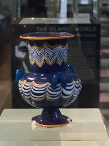 Blue ceramic water pitcher V&A Musuem