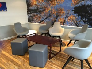 Virgin First Class Lounge Edinburgh leather seating