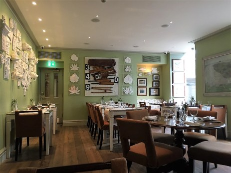 The Potting Shed dining room at the Dorset Square Hotel