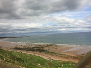Coastal Beach view UK train Edinburgh to London