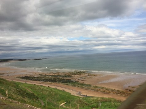 Coastal Beach view UK train Edinburgh to London