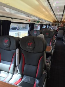 First Class view seating Virgin East Coast train Edinburgh to London