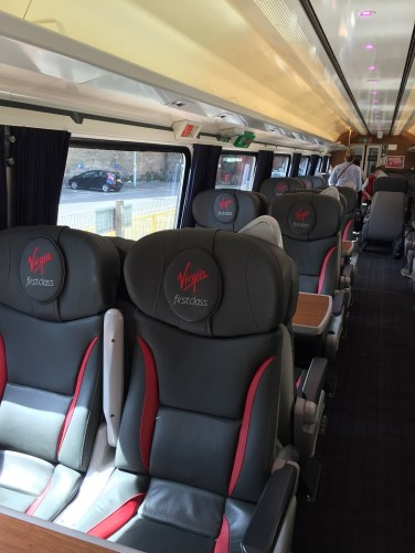 First Class view seating Virgin East Coast train Edinburgh to London