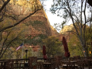 Zion Lodge outdoor patio dining