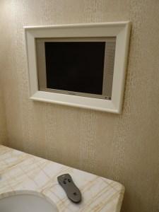 The Wynn Hotel bathroom television
