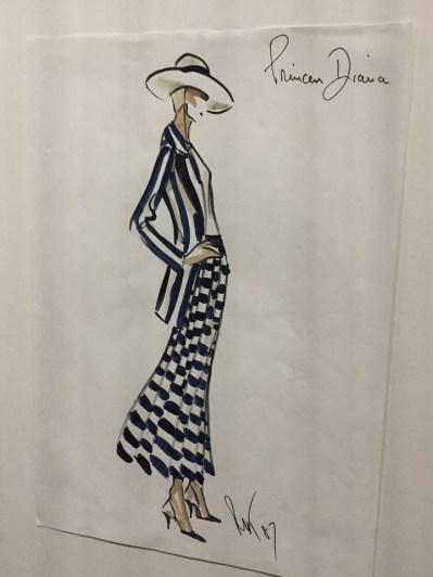 Pinstripe Dress with Hat Lady Diana