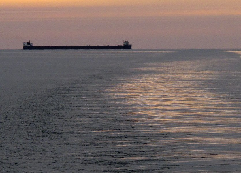 An upbound ore freighter on Lake Michigan