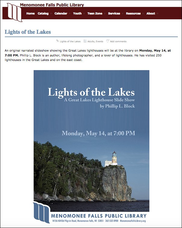 Lights of the Lakes at the Menomonee Falls Public Library