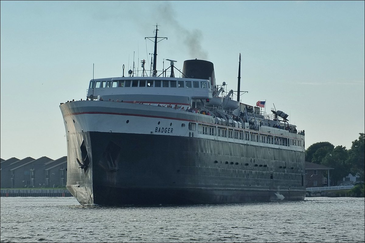 S.S. Badger Coming into Dock in Ludington