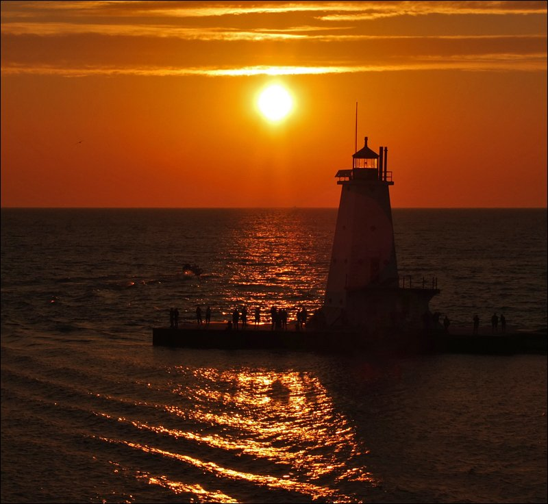 Ludington North Pierhead Light at Sunset