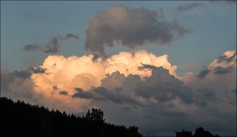 Puffy Clouds at Sunset in Michigan