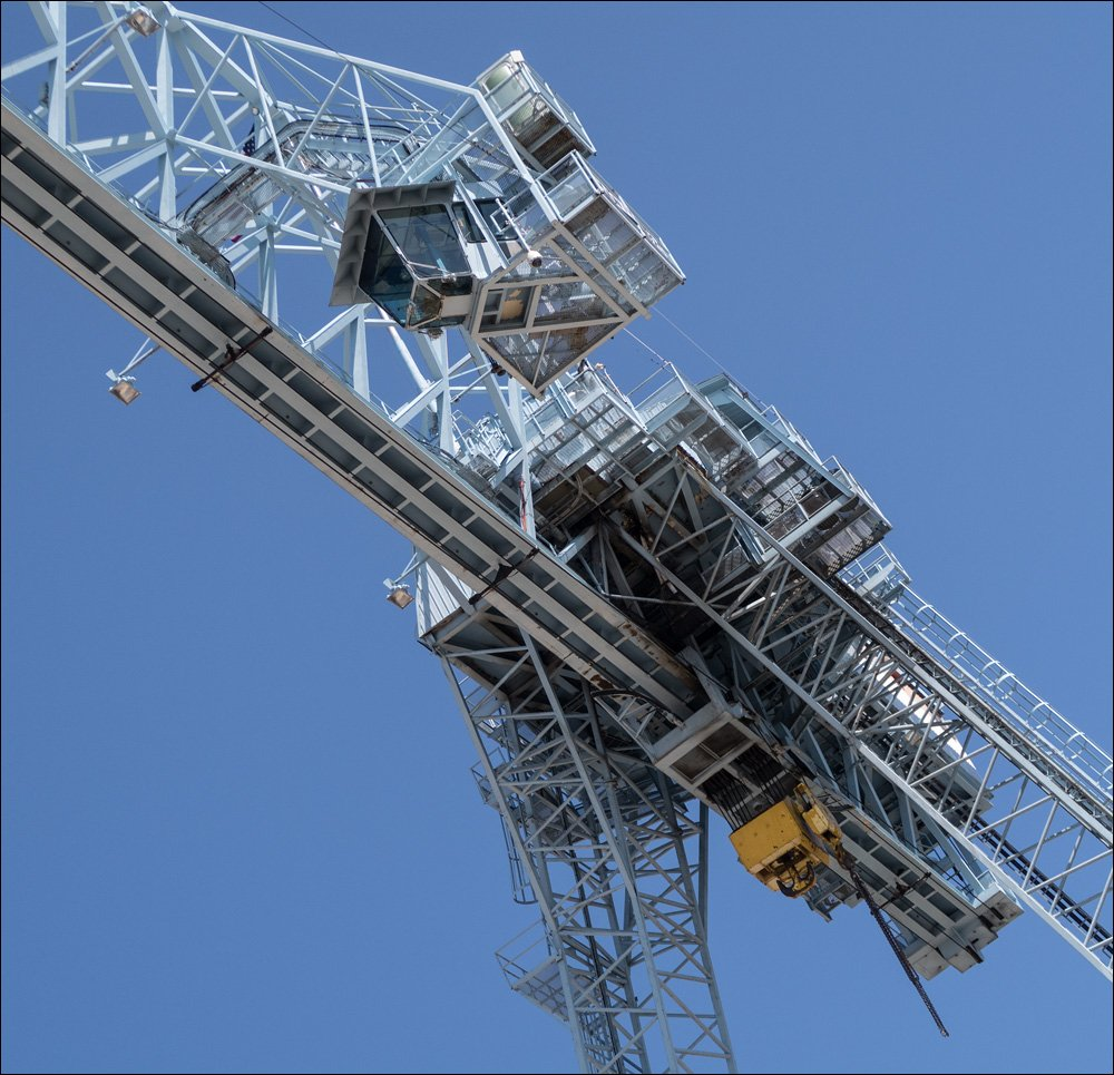 """Operator's cab (top) for the overhead crane called """"Big Blue."""" This cab sits 135 feet off the ground."""
