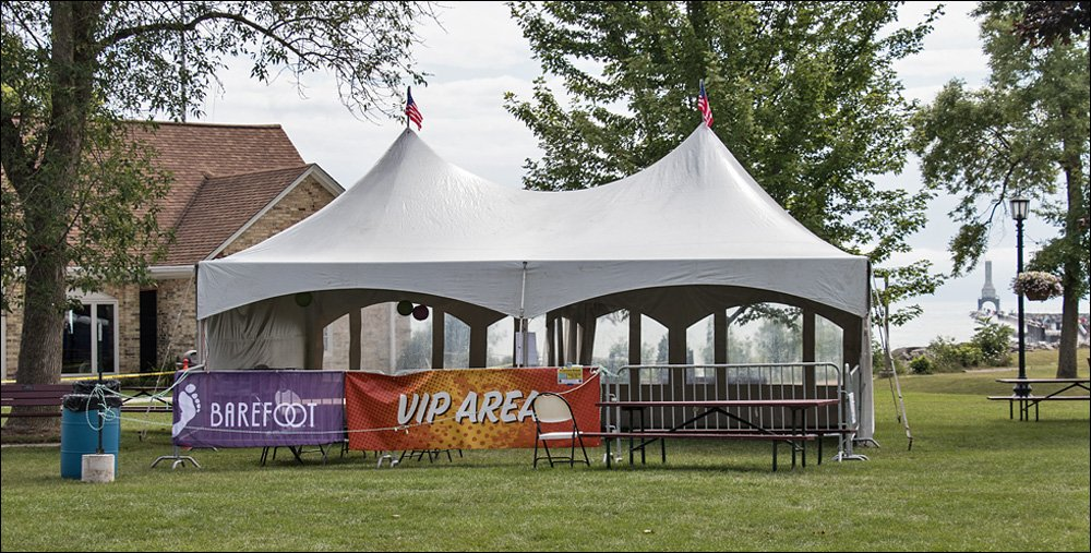 VIP tent minus the VIPs