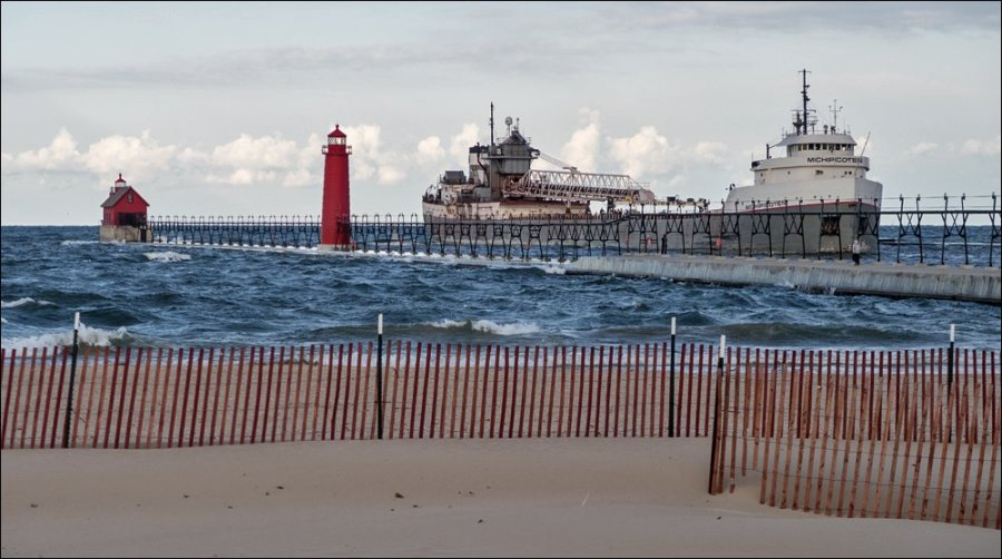 Canadian freighter Michipicoten entering Grand Haven channel