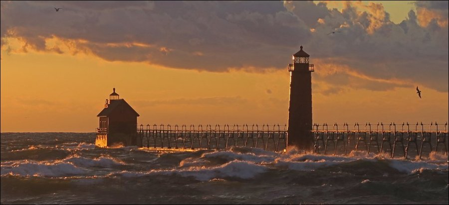 Grand Haven Lighthouses at sunset