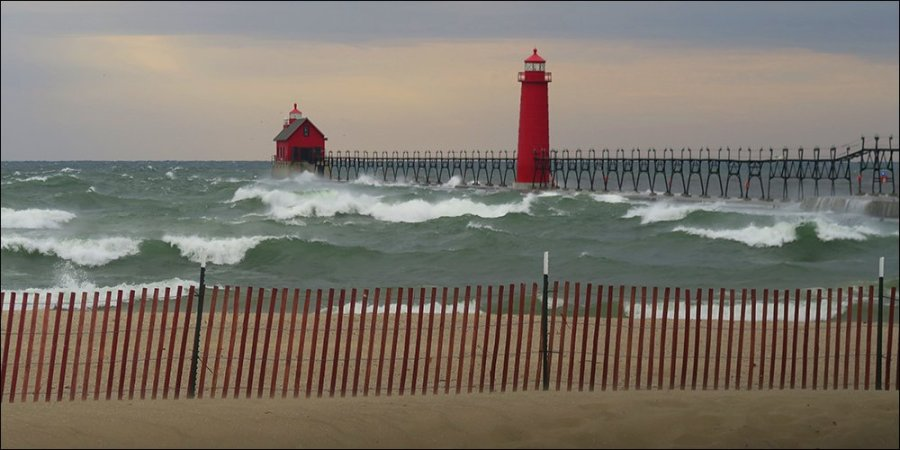 High waves pound the Grand Haven South Pier