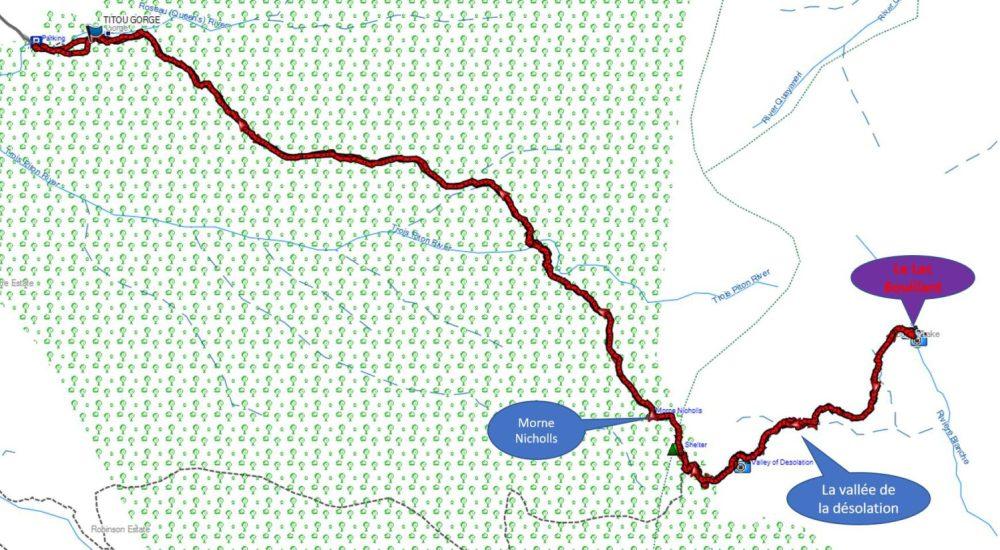 Carte Randonnée Lac Bouillant