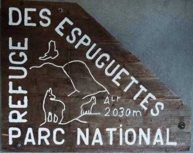 Panneau du refuge des Espuguettes