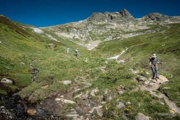Descente vers la Ville des Glaciers depuis le col des Fours