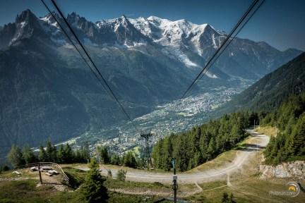 Descente sur Chamonix par le téléphérique de la Flégère. Dernière photo de ce TMB