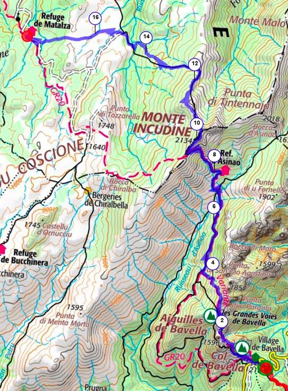 Carte topo de l'étape 2 du GR20 sens sud-nord