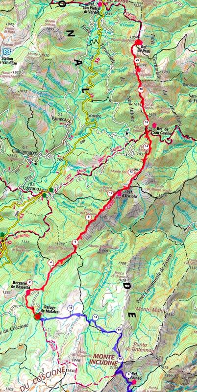 Carte topo de l'étape 3 du GR20 sens sud-nord