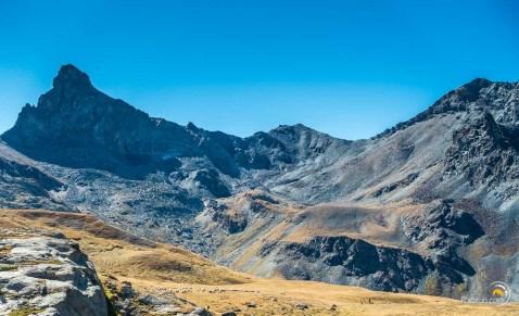 Vue sur la combe de Rocca Bianca avec le grand troupeau de moutons.