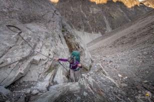 passage sécurisé pour accéder au pied du glacier d'Arolla