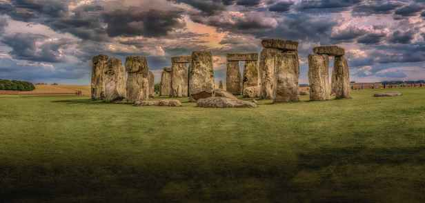stonehenge under nimbostratus clouds