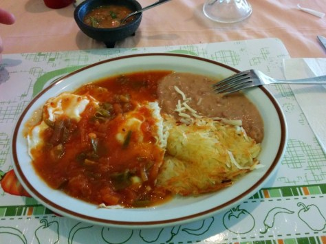 Huevos Rancheros, it means Eggs Rancheros.