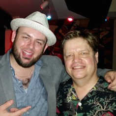 Sharing a laugh with Memphis blues harp great Brandon Santini.