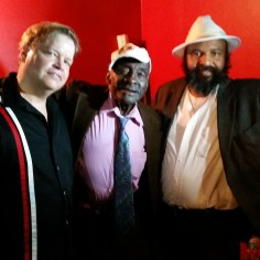 "Phil Gammage with MIssissippi hill country blues legend Leo ""Bud"" Welch and manager Vencie Varnado back stage at The Bowery Electric, New York, N.Y."
