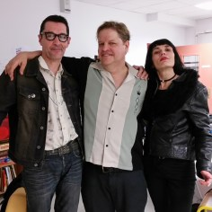 Backstage in Honfleur, France with Battan d'otto's Christian and Silvia Morini.