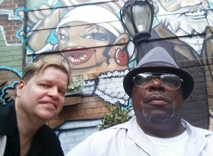 "Relaxing between sets with Mississippi blues legend Earl ""Little Joe"" Ayers. John Brown Smokehouse Summer Blues Series, Long Island City, NY."