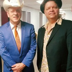 Phil with country guitar legend Junior Brown in New York.