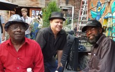 """Phil Gammage with """"Little Joe"""" Ayers and R.L. Boyce. Queens, NY."""