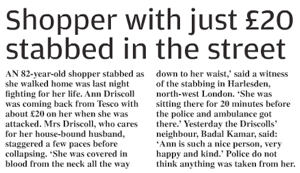 Shopper with just £20 stabbed in the street