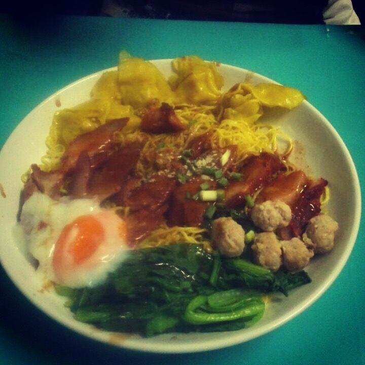 Yellow noodle with pork, eggs, wantons and kale in Chiang Mai (best food in Thailand)
