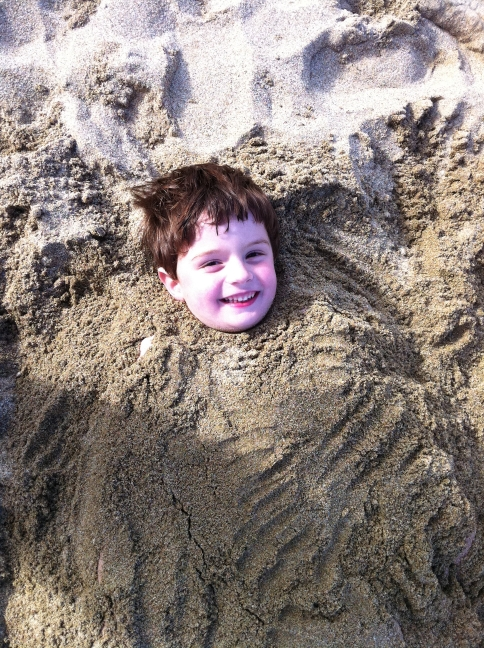 Theo in sand