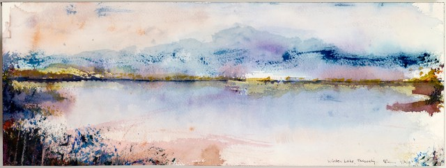 Watercolour study of a winter lake in Thessaly by David Pearce