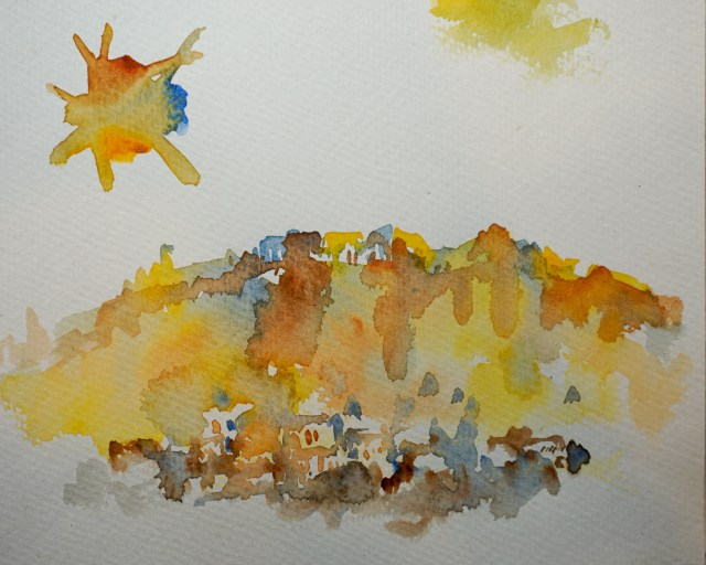 Watercolour study of the Acropolis by David Pearce