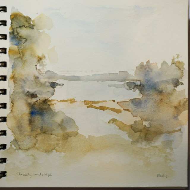 Watercolour of a Thessaly landscape by David Pearce