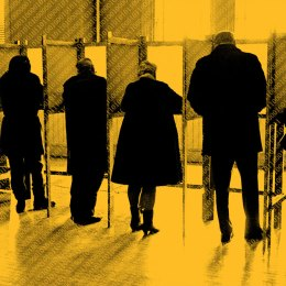 Men and women standing side by side in private voting booths, filling out election ballot papers, rear view.