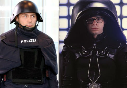 New German Police Helmet and Dark Helmet from Spaceballs