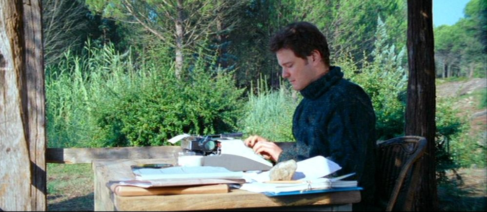Colin Firth in a ludicrous writing environment