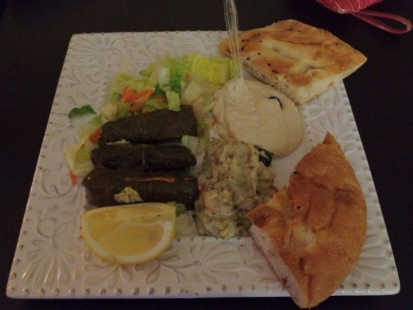Hummus, Stuffed Grape Leaves, Eggplant Salad