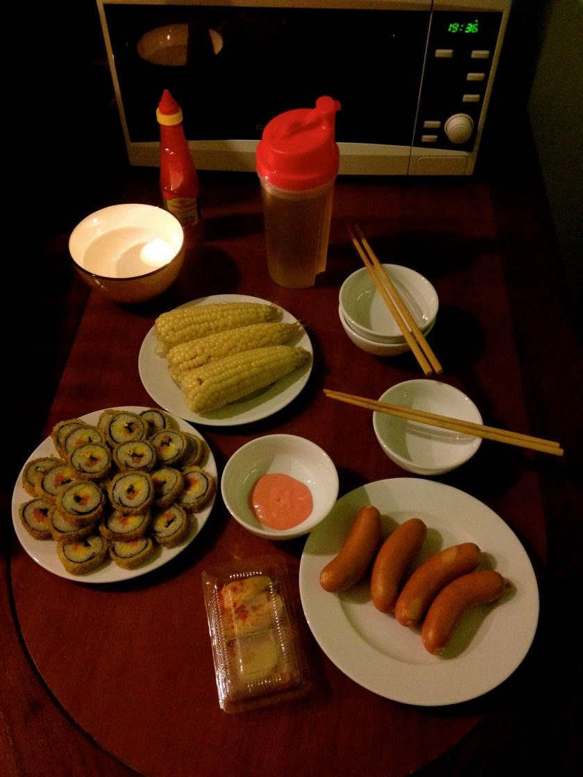Gimbap, Kimchi, Sausage, Boiled Corn, and Corn Water