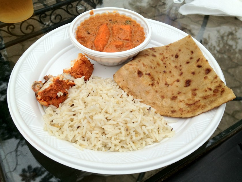 Butter Masala, Fish Tikka, Rice, and Naan